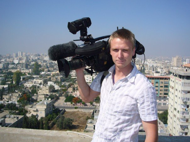 Here's a photo of me working as a traditional news cameraman in Gaza, 2006.